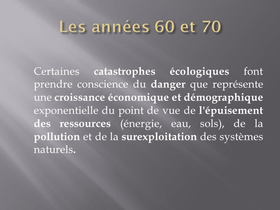 Certaines catastrophes écologiques font prendre conscience du danger que représente une croissance économique et démographique exponentielle du point