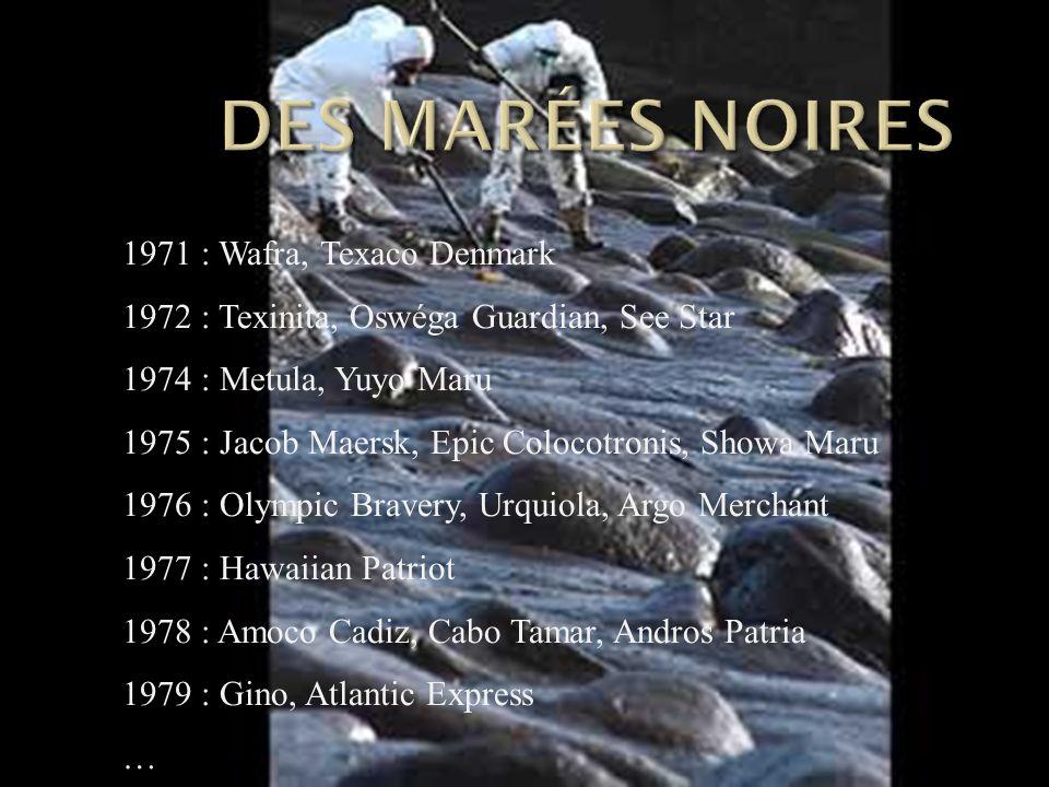1971 : Wafra, Texaco Denmark 1972 : Texinita, Oswéga Guardian, See Star 1974 : Metula, Yuyo Maru 1975 : Jacob Maersk, Epic Colocotronis, Showa Maru 19