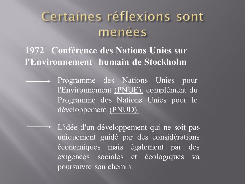 1972 Conférence des Nations Unies sur l'Environnement humain de Stockholm Programme des Nations Unies pour l'Environnement (PNUE), complément du Progr