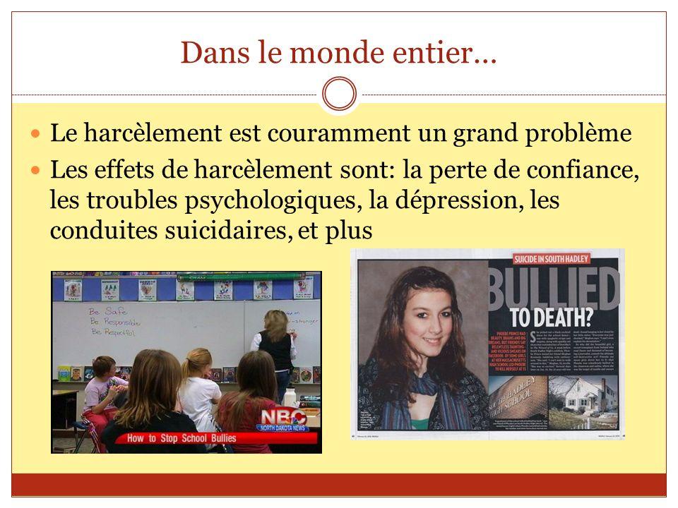 Dans le monde entier… Le harcèlement est couramment un grand problème Les effets de harcèlement sont: la perte de confiance, les troubles psychologiqu