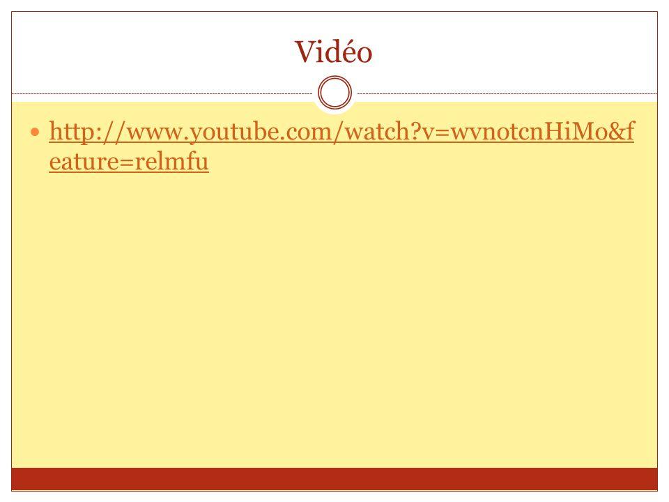Vidéo http://www.youtube.com/watch?v=wvnotcnHiMo&f eature=relmfu http://www.youtube.com/watch?v=wvnotcnHiMo&f eature=relmfu