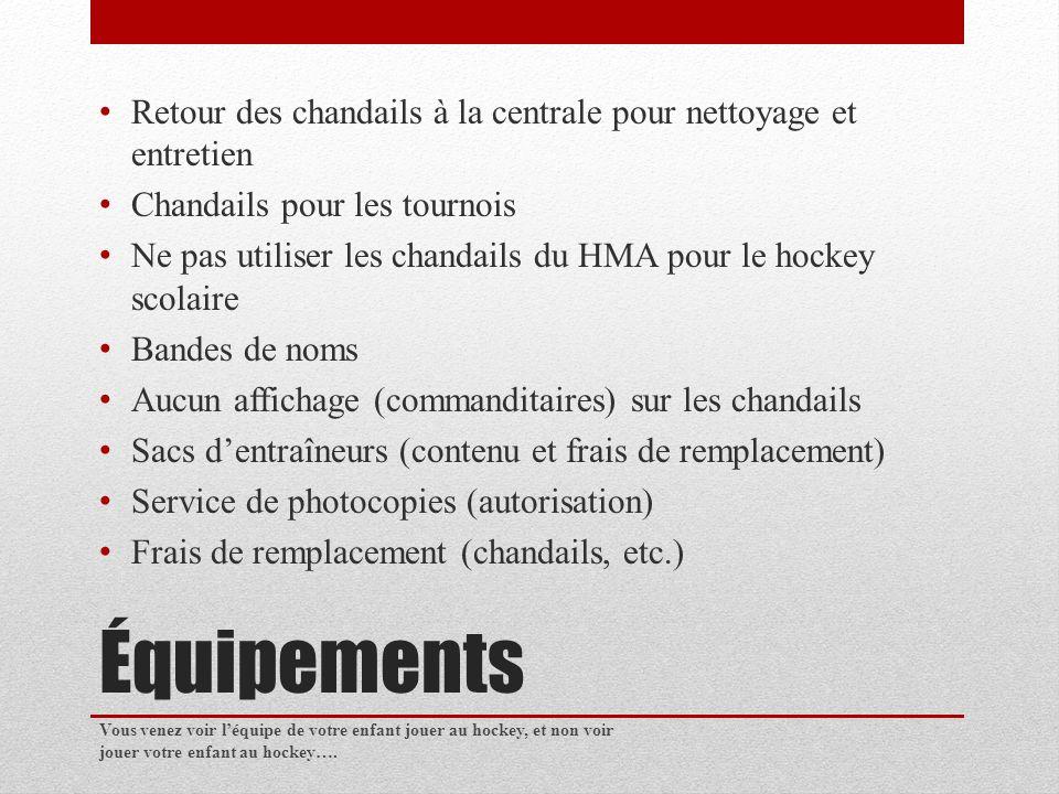Équipements Retour des chandails à la centrale pour nettoyage et entretien Chandails pour les tournois Ne pas utiliser les chandails du HMA pour le hockey scolaire Bandes de noms Aucun affichage (commanditaires) sur les chandails Sacs dentraîneurs (contenu et frais de remplacement) Service de photocopies (autorisation) Frais de remplacement (chandails, etc.) Vous venez voir léquipe de votre enfant jouer au hockey, et non voir jouer votre enfant au hockey….