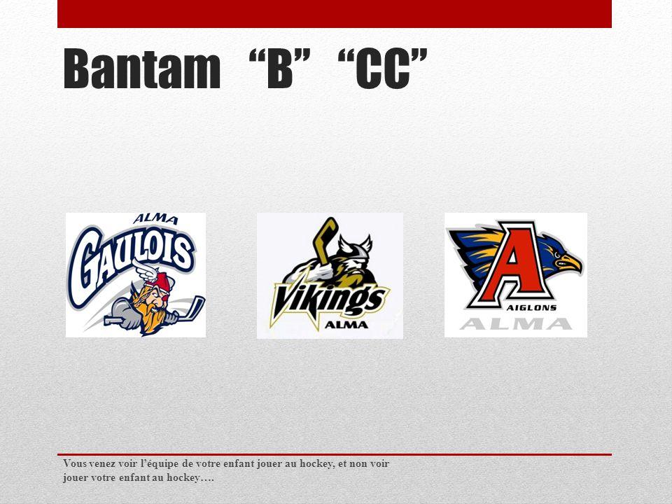 Bantam B CC Vous venez voir léquipe de votre enfant jouer au hockey, et non voir jouer votre enfant au hockey….
