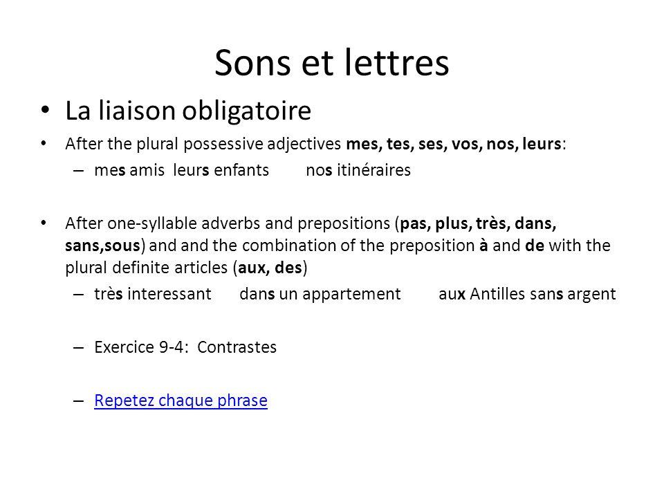 Sons et lettres La liaison obligatoire After the plural possessive adjectives mes, tes, ses, vos, nos, leurs: – mes amisleurs enfantsnos itinéraires A
