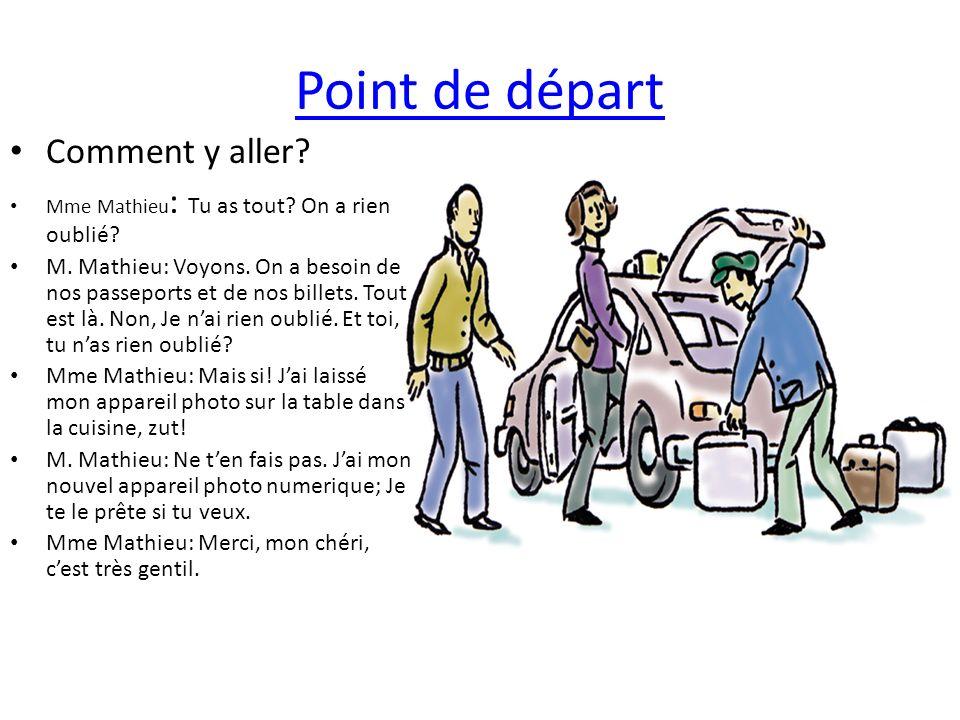 Point de départ Comment y aller? Mme Mathieu : Tu as tout? On a rien oublié? M. Mathieu: Voyons. On a besoin de nos passeports et de nos billets. Tout