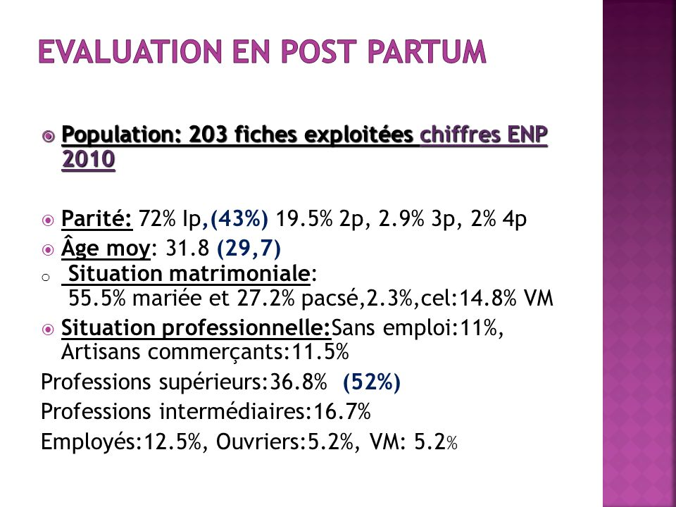 Population: 203 fiches exploitées chiffres ENP 2010 Population: 203 fiches exploitées chiffres ENP 2010 Parité: 72% Ip,(43%) 19.5% 2p, 2.9% 3p, 2% 4p Âge moy: 31.8 (29,7) o Situation matrimoniale: 55.5% mariée et 27.2% pacsé,2.3%,cel:14.8% VM Situation professionnelle:Sans emploi:11%, Artisans commerçants:11.5% Professions supérieurs:36.8% (52%) Professions intermédiaires:16.7% Employés:12.5%, Ouvriers:5.2%, VM: 5.2 %