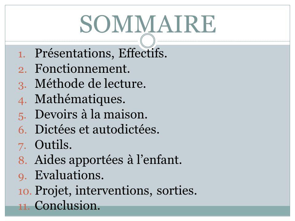 SOMMAIRE 1. Présentations, Effectifs. 2. Fonctionnement. 3. Méthode de lecture. 4. Mathématiques. 5. Devoirs à la maison. 6. Dictées et autodictées. 7