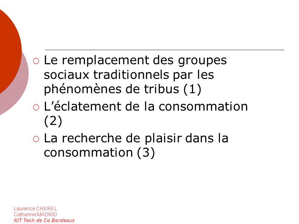 Laurence CHEREL Catherine MADRID IUT Tech de Co Bordeaux Le remplacement des groupes sociaux traditionnels par les phénomènes de tribus (1) Léclatemen