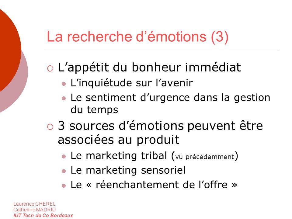 Laurence CHEREL Catherine MADRID IUT Tech de Co Bordeaux La recherche démotions (3) Lappétit du bonheur immédiat Linquiétude sur lavenir Le sentiment