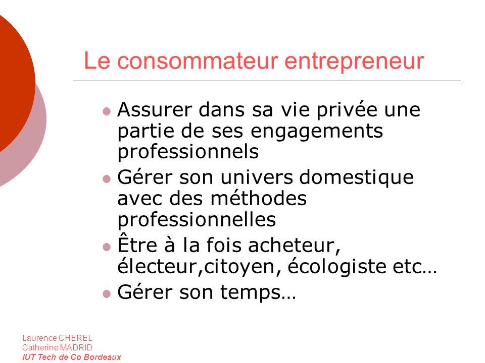 Laurence CHEREL Catherine MADRID IUT Tech de Co Bordeaux Le consommateur entrepreneur Assurer dans sa vie privée une partie de ses engagements profess