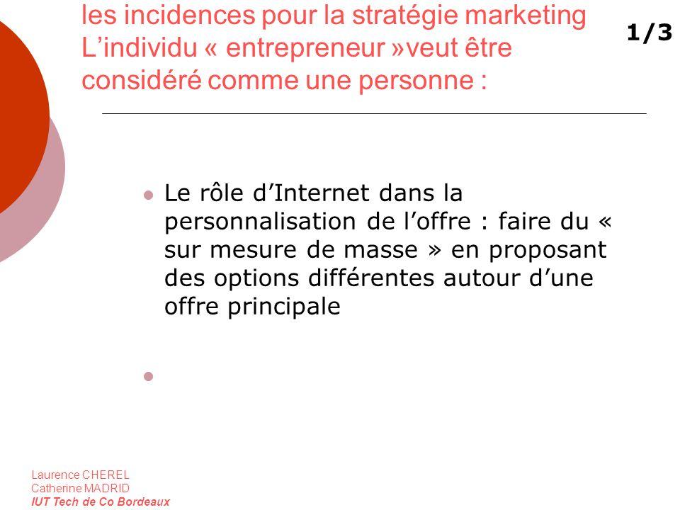 Laurence CHEREL Catherine MADRID IUT Tech de Co Bordeaux les incidences pour la stratégie marketing Lindividu « entrepreneur »veut être considéré comm