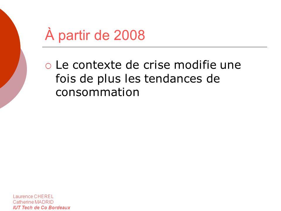 Laurence CHEREL Catherine MADRID IUT Tech de Co Bordeaux À partir de 2008 Le contexte de crise modifie une fois de plus les tendances de consommation