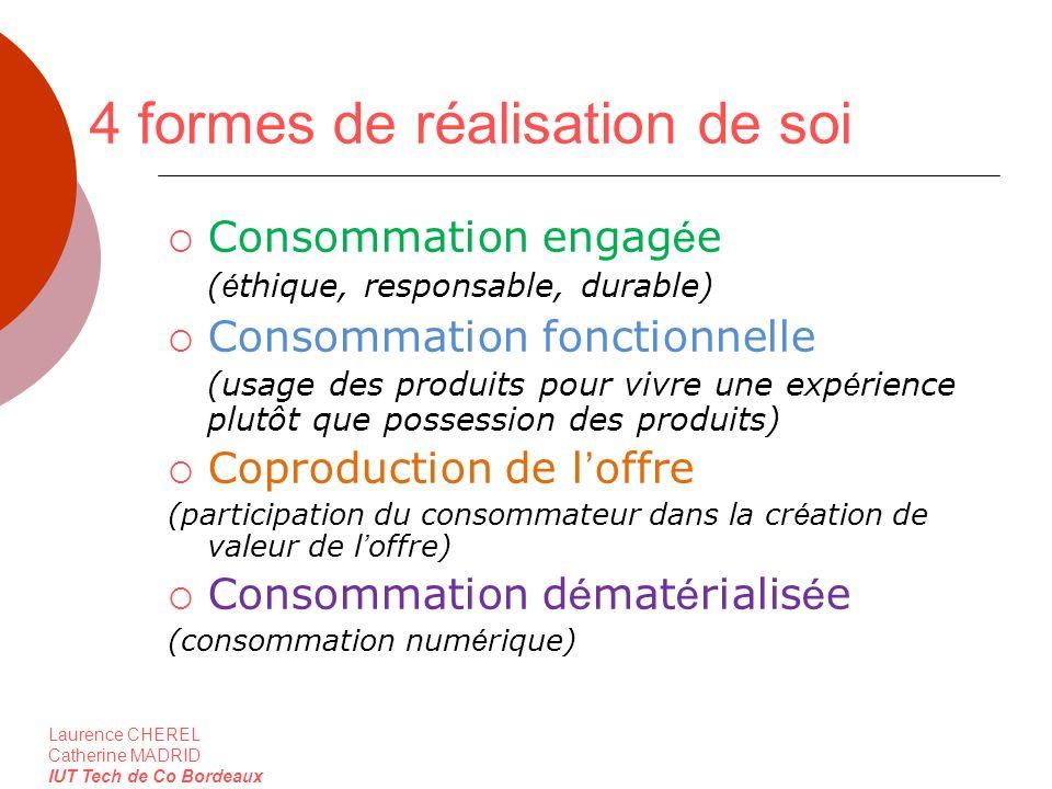 Laurence CHEREL Catherine MADRID IUT Tech de Co Bordeaux 4 formes de réalisation de soi Consommation engag é e ( é thique, responsable, durable) Conso