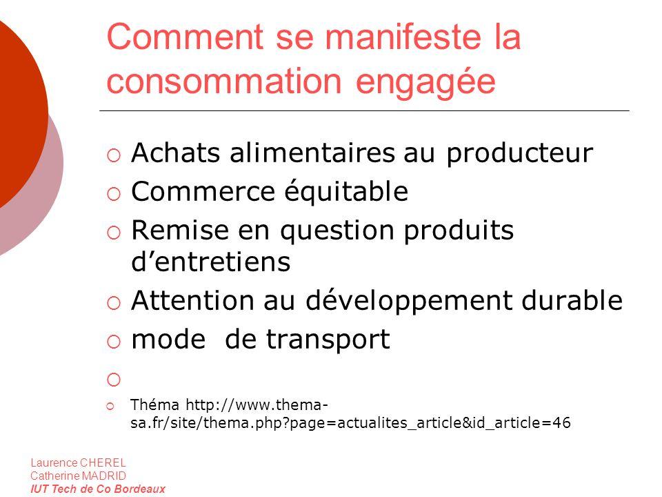 Laurence CHEREL Catherine MADRID IUT Tech de Co Bordeaux Comment se manifeste la consommation engagée Achats alimentaires au producteur Commerce équit