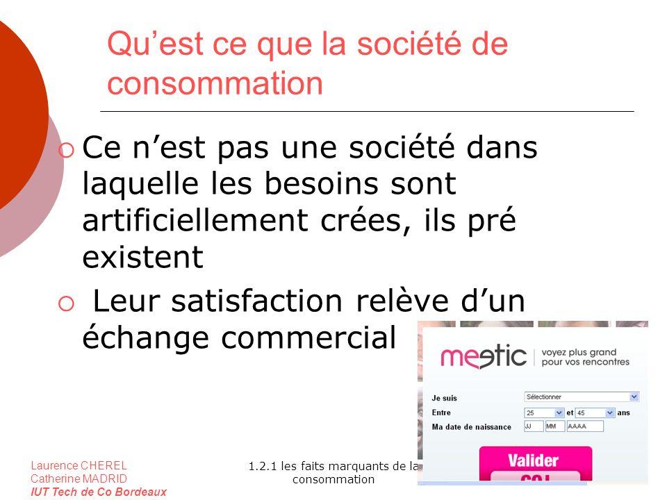 Laurence CHEREL Catherine MADRID IUT Tech de Co Bordeaux 1.2.1 les faits marquants de la consommation Quest ce que la société de consommation Ce nest