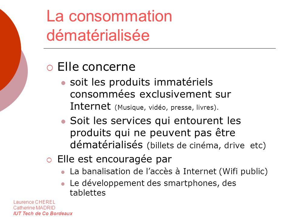 Laurence CHEREL Catherine MADRID IUT Tech de Co Bordeaux La consommation dématérialisée Elle concerne soit les produits immatériels consommées exclusi