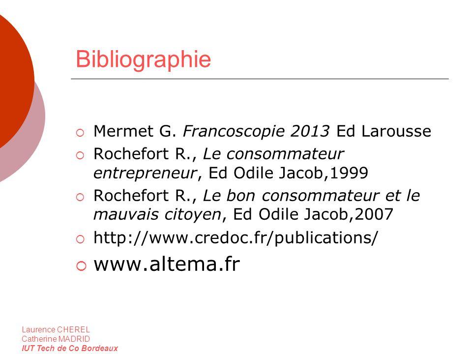 Laurence CHEREL Catherine MADRID IUT Tech de Co Bordeaux Bibliographie Mermet G. Francoscopie 2013 Ed Larousse Rochefort R., Le consommateur entrepren