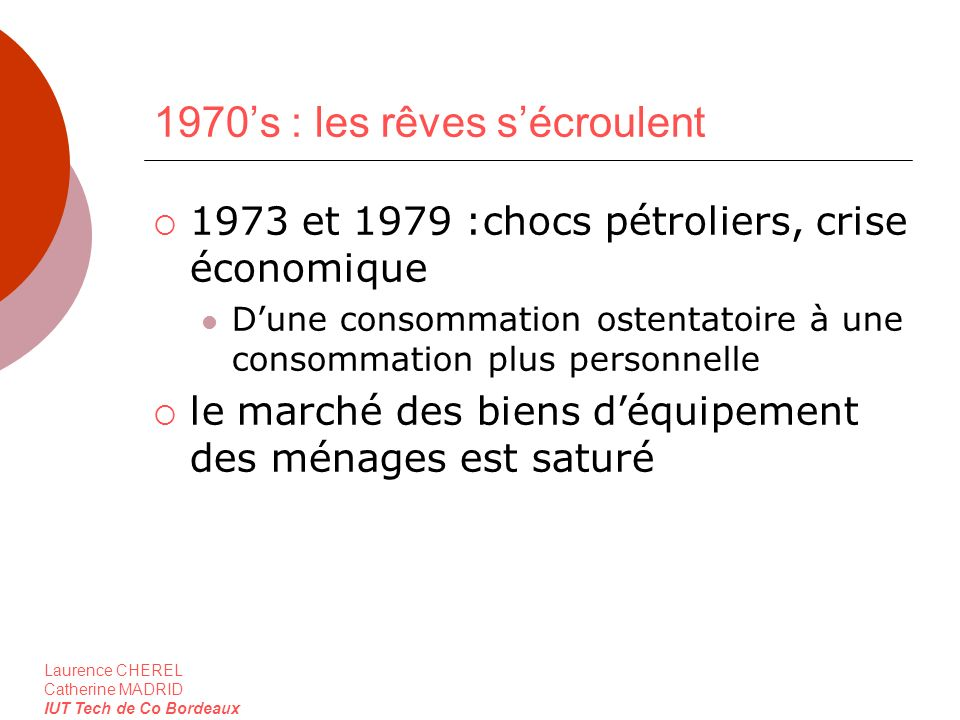 Laurence CHEREL Catherine MADRID IUT Tech de Co Bordeaux 1970s : les rêves sécroulent 1973 et 1979 :chocs pétroliers, crise économique Dune consommati