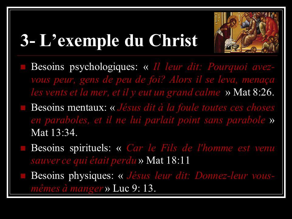 3- Lexemple du Christ Besoins psychologiques: « Il leur dit: Pourquoi avez- vous peur, gens de peu de foi? Alors il se leva, menaça les vents et la me