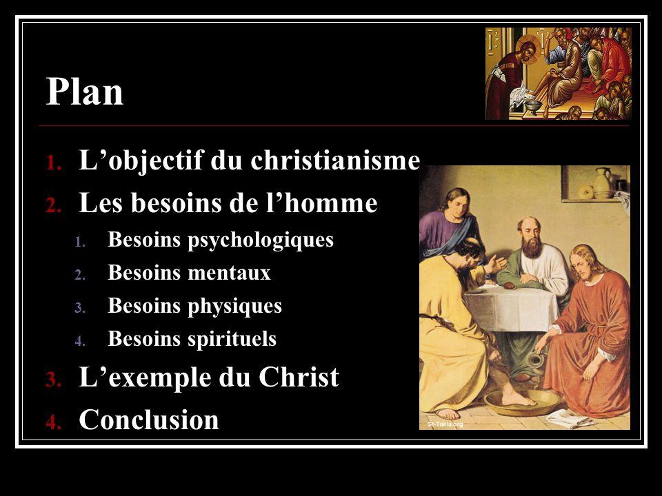 Plan 1. Lobjectif du christianisme 2. Les besoins de lhomme 1. Besoins psychologiques 2. Besoins mentaux 3. Besoins physiques 4. Besoins spirituels 3.