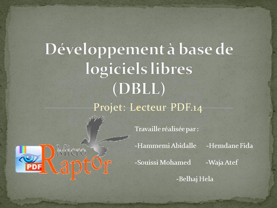 Projet: Lecteur PDF.14 Travaille réalisée par : -Hammemi Abidalle -Hemdane Fida -Souissi Mohamed -Waja Atef -Belhaj Hela