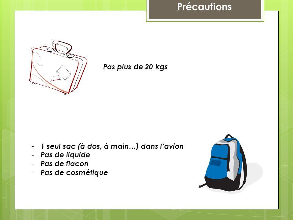 Précautions Pas plus de 20 kgs - 1 seul sac (à dos, à main…) dans lavion - Pas de liquide - Pas de flacon - Pas de cosmétique