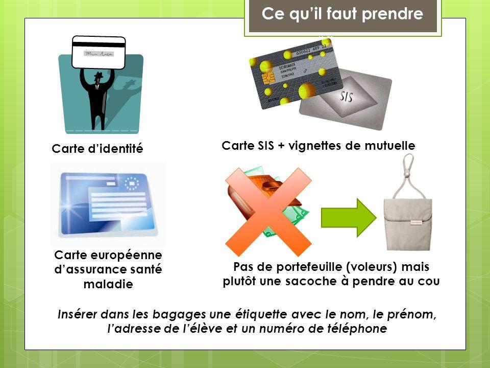 Ce quil faut prendre Carte didentité Carte SIS + vignettes de mutuelle Carte européenne dassurance santé maladie Pas de portefeuille (voleurs) mais pl