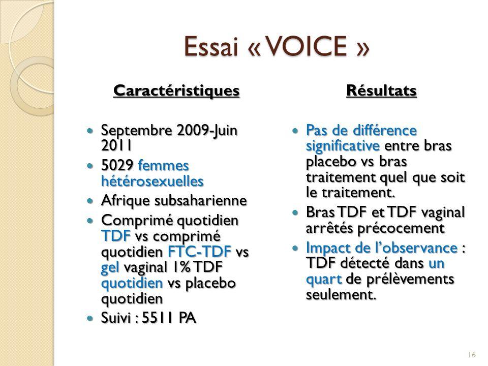 Essai « VOICE » Caractéristiques Septembre 2009-Juin 2011 Septembre 2009-Juin 2011 5029 femmes hétérosexuelles 5029 femmes hétérosexuelles Afrique sub