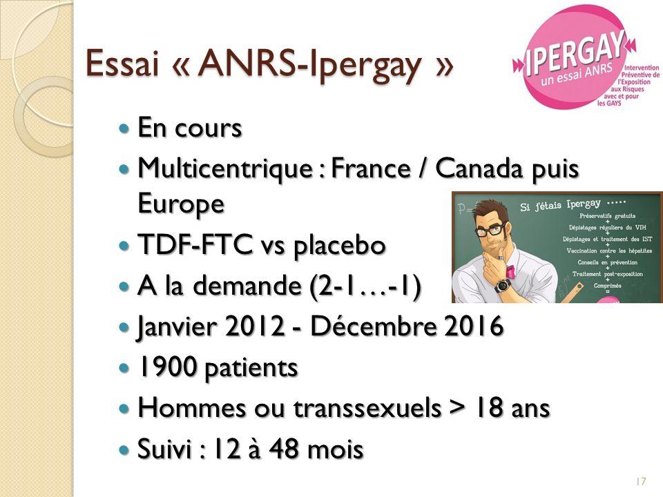 Essai « ANRS-Ipergay » En cours En cours Multicentrique : France / Canada puis Europe Multicentrique : France / Canada puis Europe TDF-FTC vs placebo