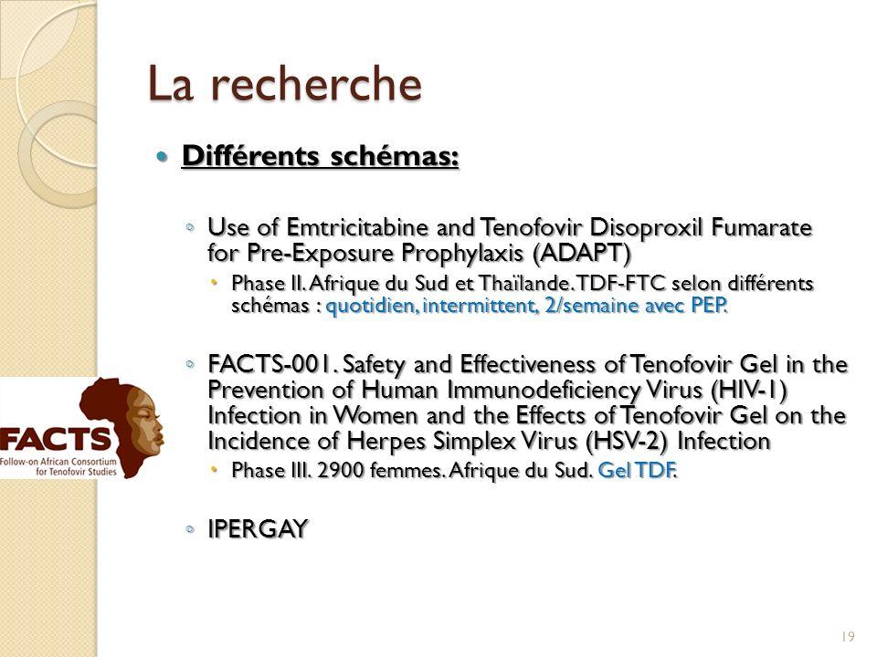 La recherche Différents schémas: Différents schémas: Use of Emtricitabine and Tenofovir Disoproxil Fumarate for Pre-Exposure Prophylaxis (ADAPT) Use o