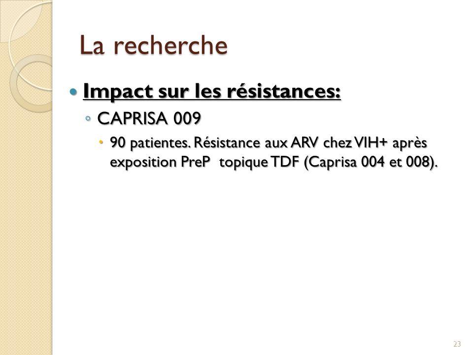La recherche Impact sur les résistances: Impact sur les résistances: CAPRISA 009 CAPRISA 009 90 patientes. Résistance aux ARV chez VIH+ après expositi