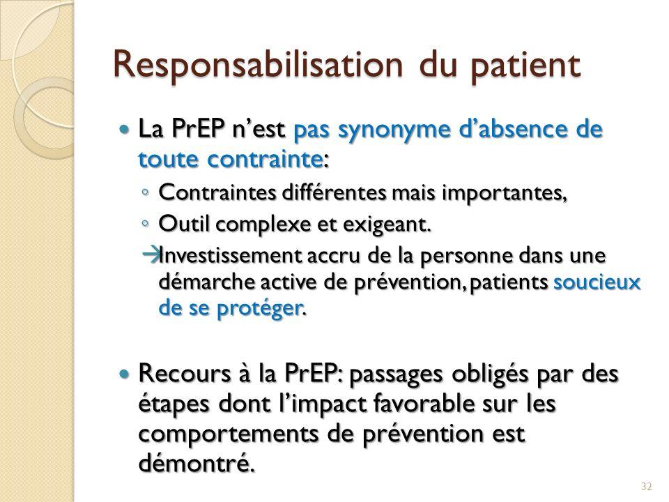 Responsabilisation du patient La PrEP nest pas synonyme dabsence de toute contrainte: La PrEP nest pas synonyme dabsence de toute contrainte: Contrain