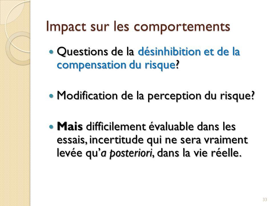 Impact sur les comportements Questions de la désinhibition et de la compensation du risque? Questions de la désinhibition et de la compensation du ris