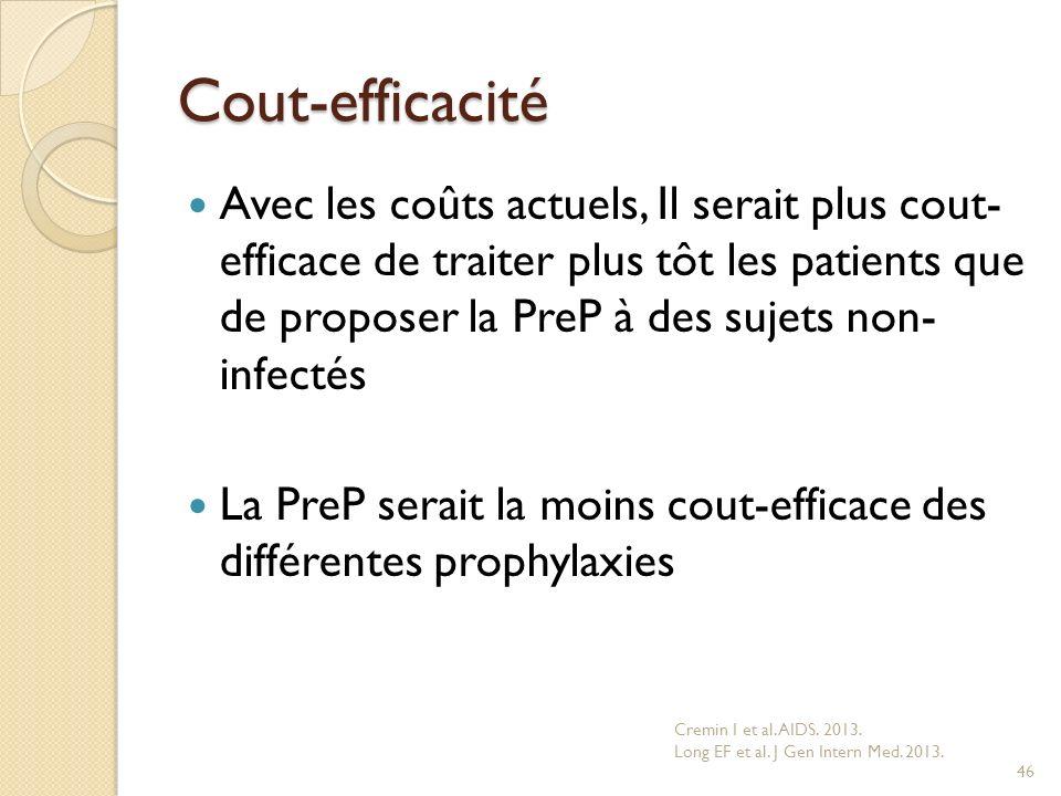 Cout-efficacité Avec les coûts actuels, Il serait plus cout- efficace de traiter plus tôt les patients que de proposer la PreP à des sujets non- infec