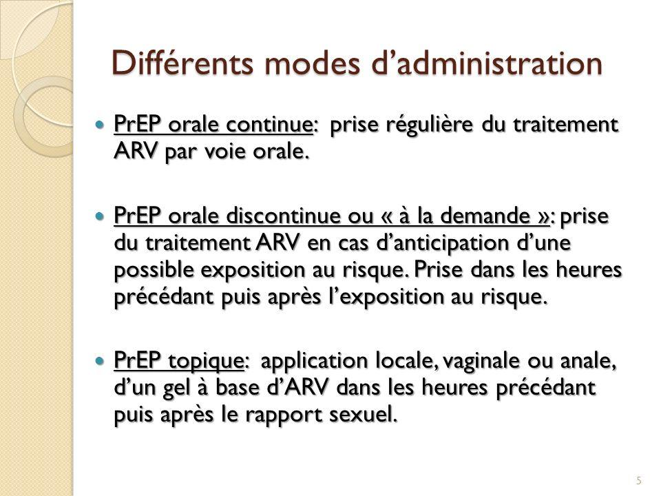 Différents modes dadministration PrEP orale continue: prise régulière du traitement ARV par voie orale. PrEP orale continue: prise régulière du traite