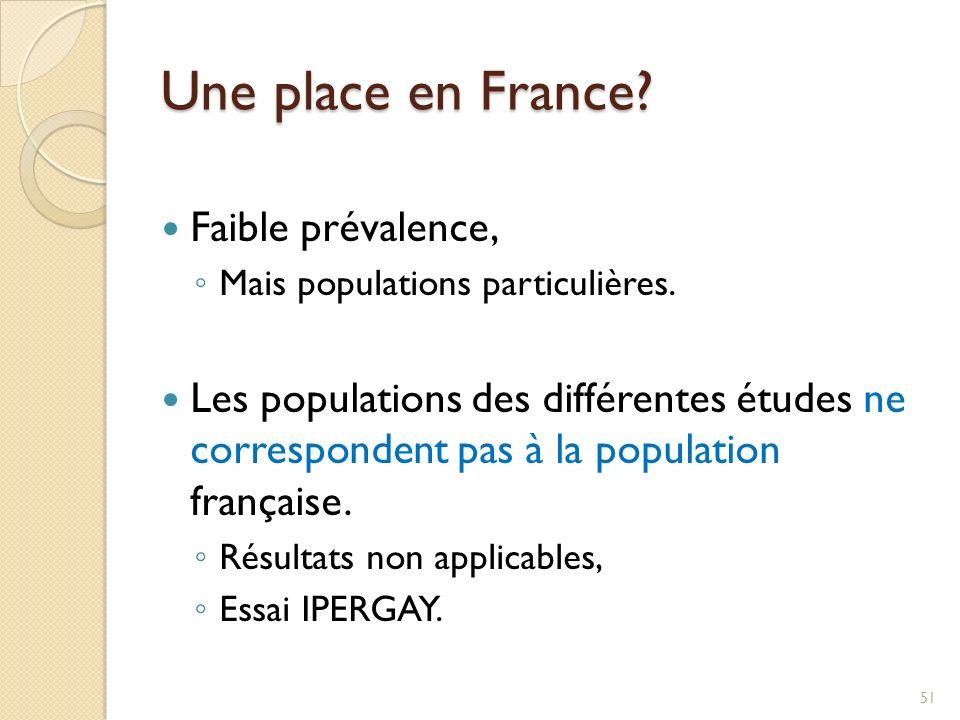Une place en France? Faible prévalence, Mais populations particulières. Les populations des différentes études ne correspondent pas à la population fr
