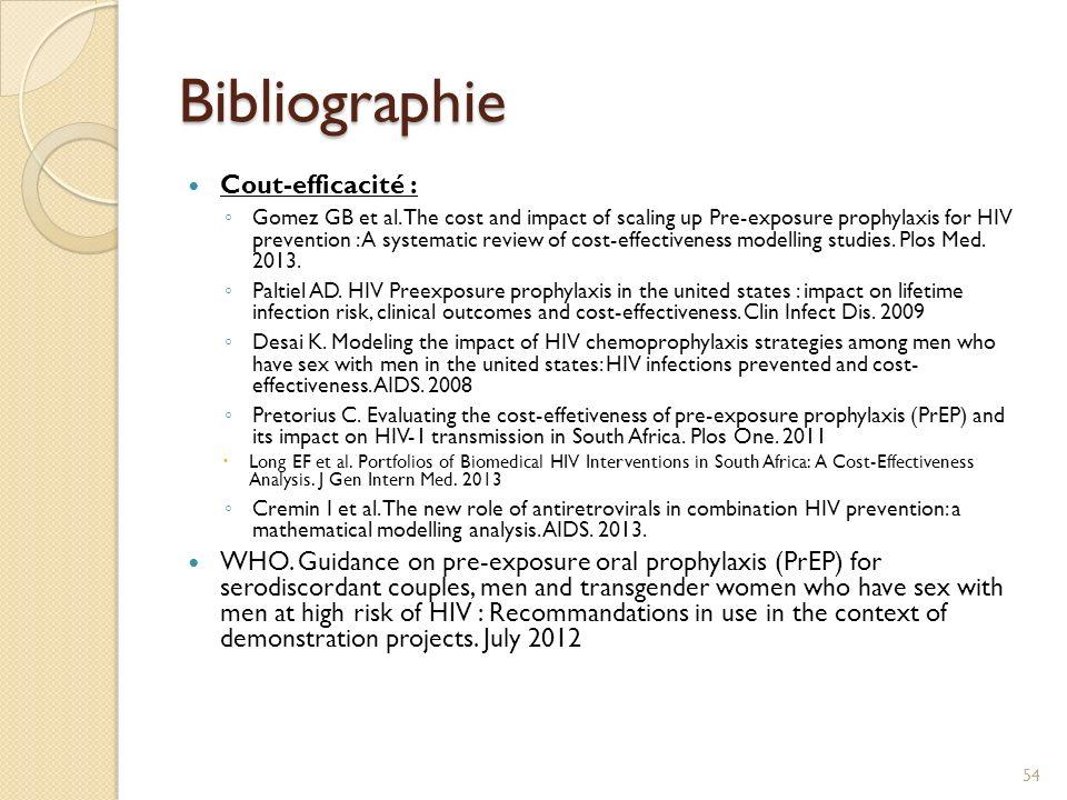 Bibliographie www.ipergay.fr HPTN 052 : Cohen MS.