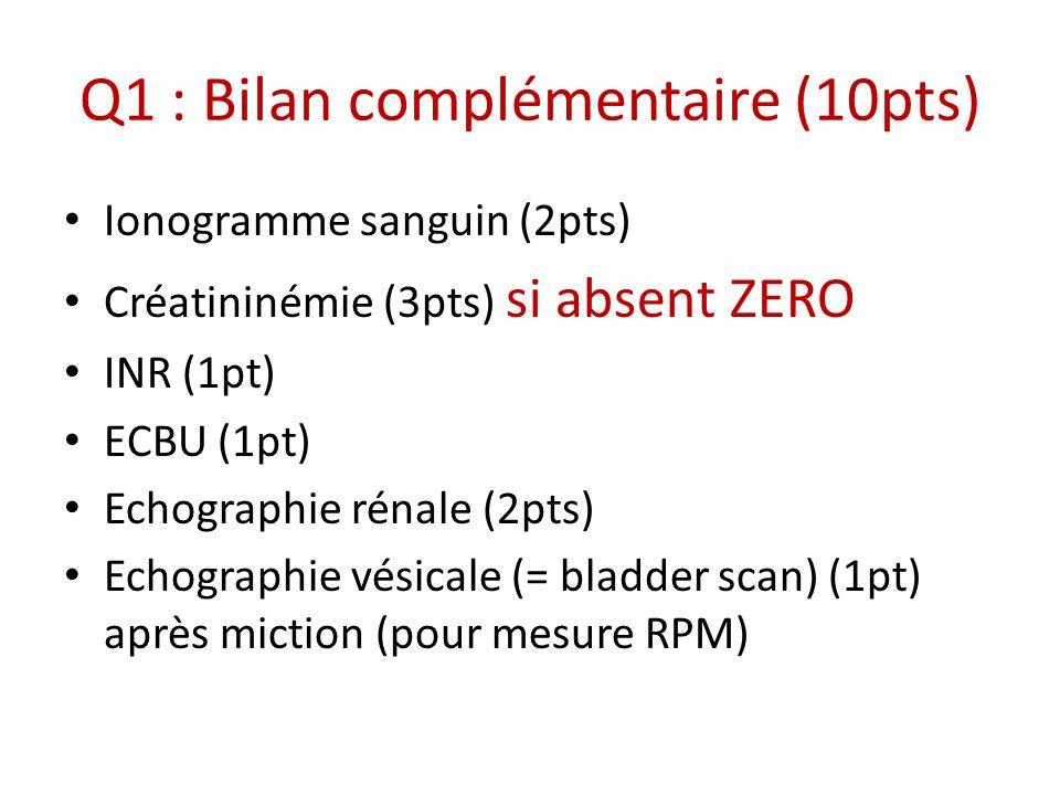 Q1 : Bilan complémentaire (10pts) Ionogramme sanguin (2pts) Créatininémie (3pts) si absent ZERO INR (1pt) ECBU (1pt) Echographie rénale (2pts) Echogra