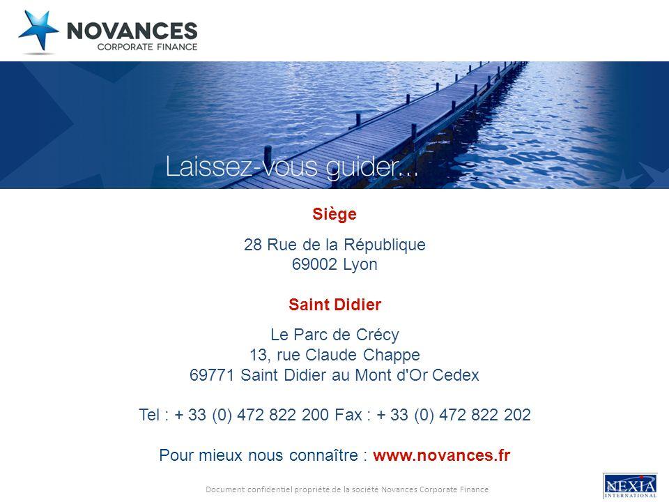 Document confidentiel propriété de la société Novances Corporate Finance Siège 28 Rue de la République 69002 Lyon Saint Didier Le Parc de Crécy 13, ru