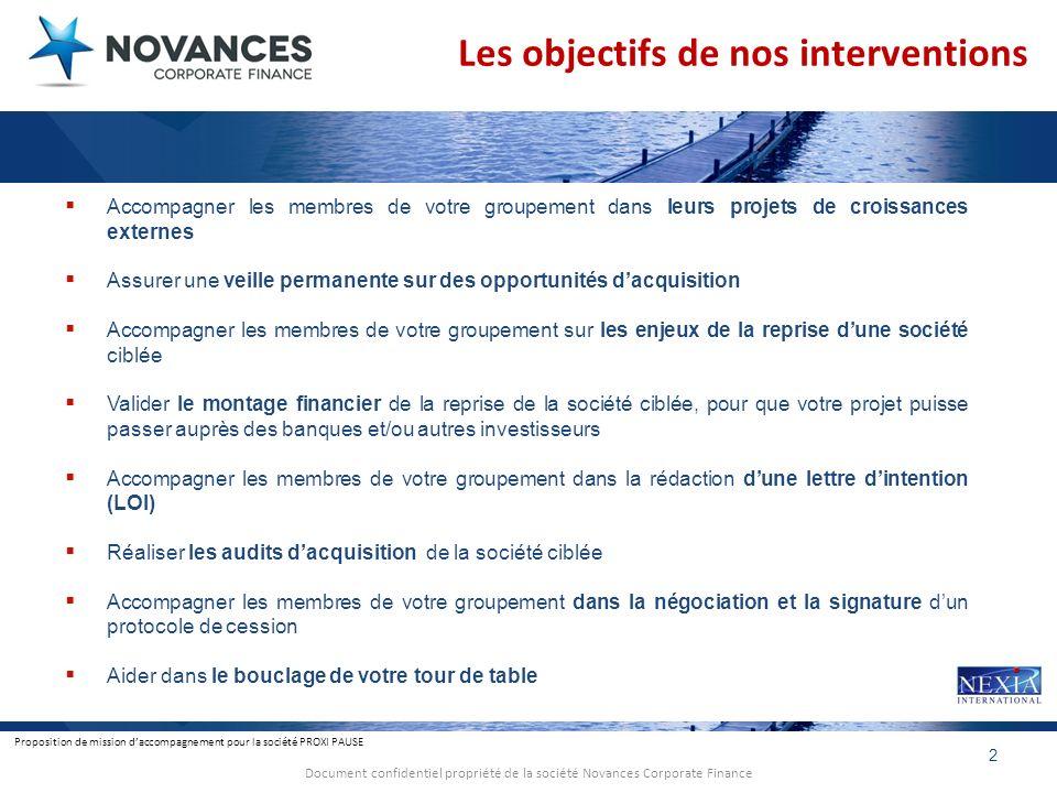 Proposition de mission daccompagnement pour la société PROXI PAUSE 2 Document confidentiel propriété de la société Novances Corporate Finance Les obje