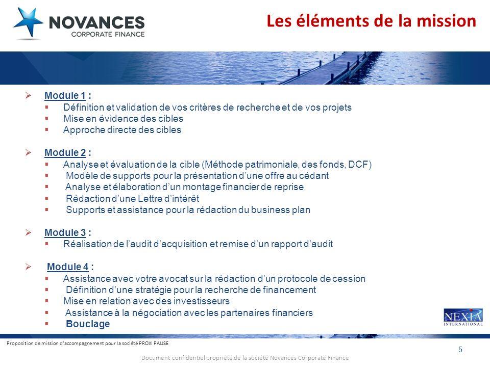 Proposition de mission daccompagnement pour la société PROXI PAUSE 5 Document confidentiel propriété de la société Novances Corporate Finance Module 1