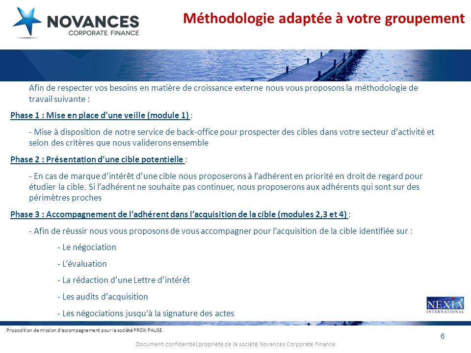 Proposition de mission daccompagnement pour la société PROXI PAUSE 6 Document confidentiel propriété de la société Novances Corporate Finance Méthodol