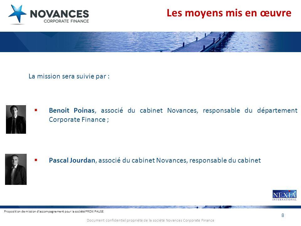 Proposition de mission daccompagnement pour la société PROXI PAUSE 8 Document confidentiel propriété de la société Novances Corporate Finance Les moye