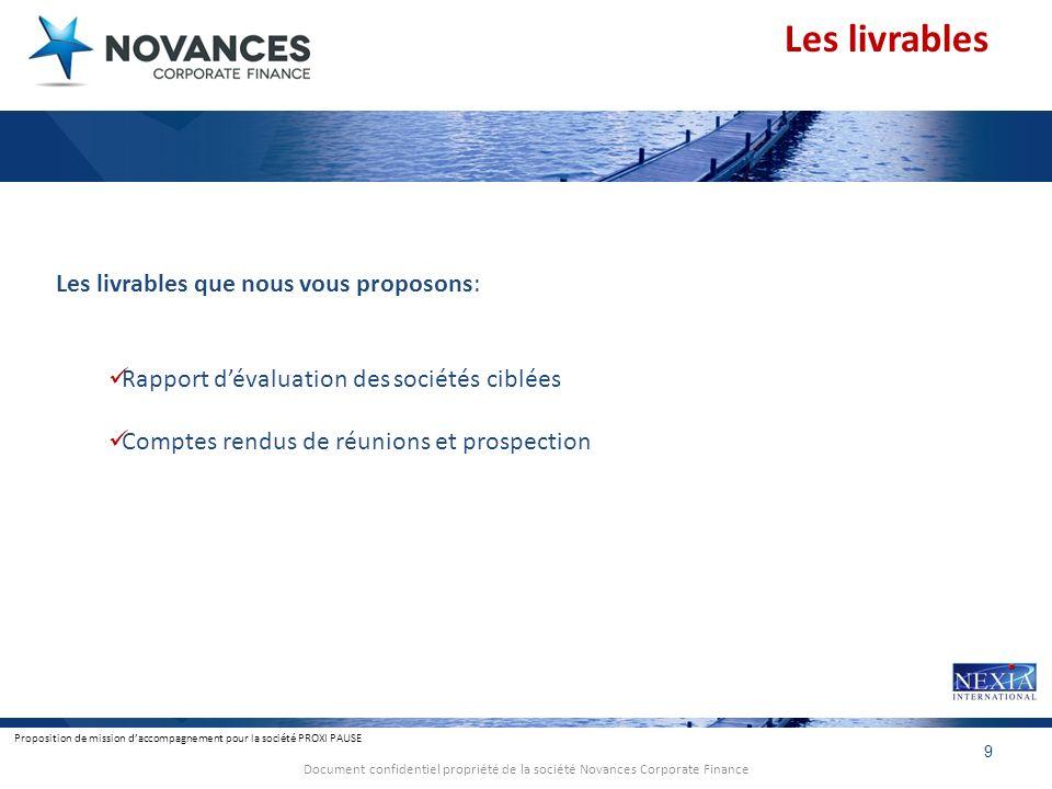 Proposition de mission daccompagnement pour la société PROXI PAUSE 9 Document confidentiel propriété de la société Novances Corporate Finance Les livr