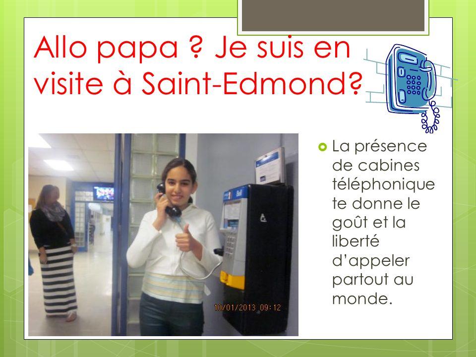 Allo papa ? Je suis en visite à Saint-Edmond? La présence de cabines téléphonique te donne le goût et la liberté dappeler partout au monde.