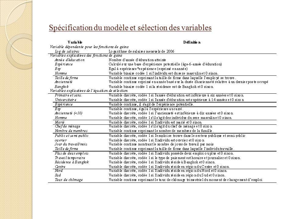 Spécification du modèle et sélection des variables