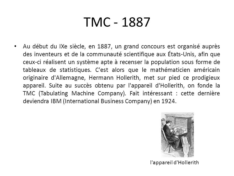 TMC - 1887 Au début du IXe siècle, en 1887, un grand concours est organisé auprès des inventeurs et de la communauté scientifique aux États-Unis, afin