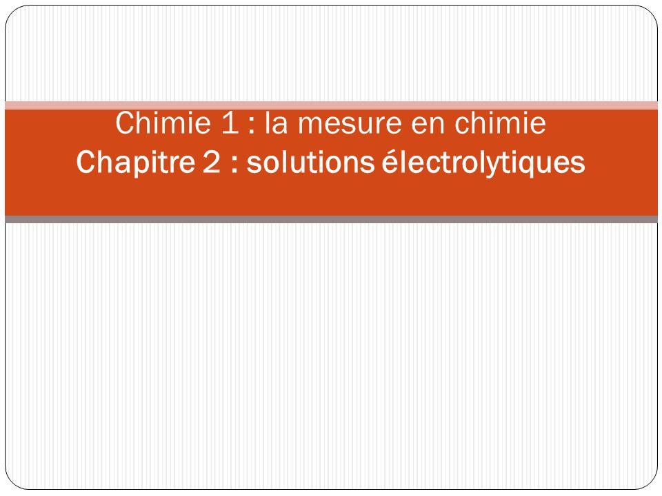 Chimie 1 : la mesure en chimie Chapitre 2 : solutions électrolytiques