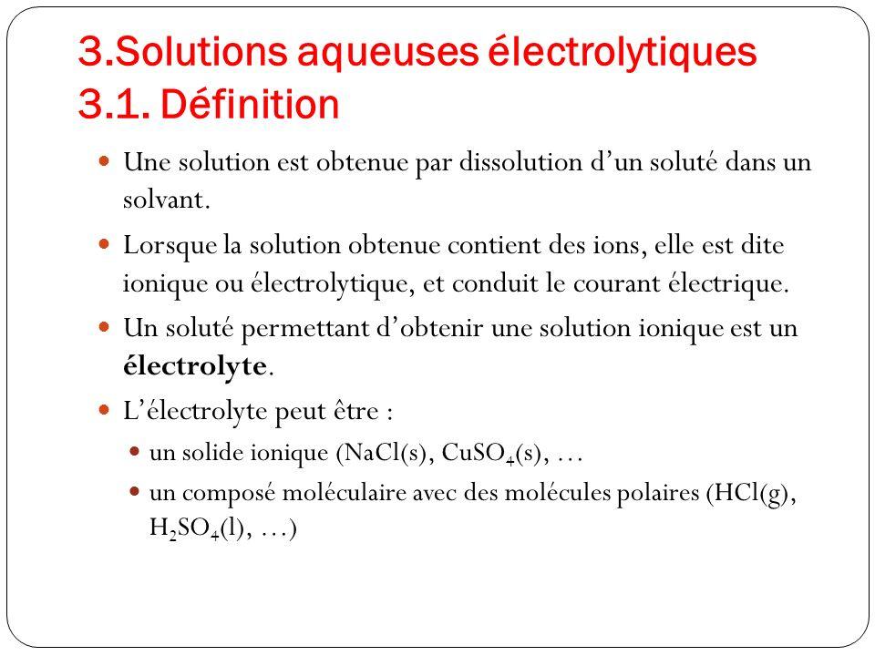 3.Solutions aqueuses électrolytiques 3.1.