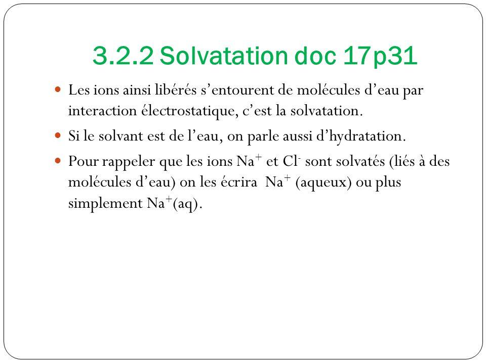 3.2.2 Solvatation doc 17p31 Les ions ainsi libérés sentourent de molécules deau par interaction électrostatique, cest la solvatation.